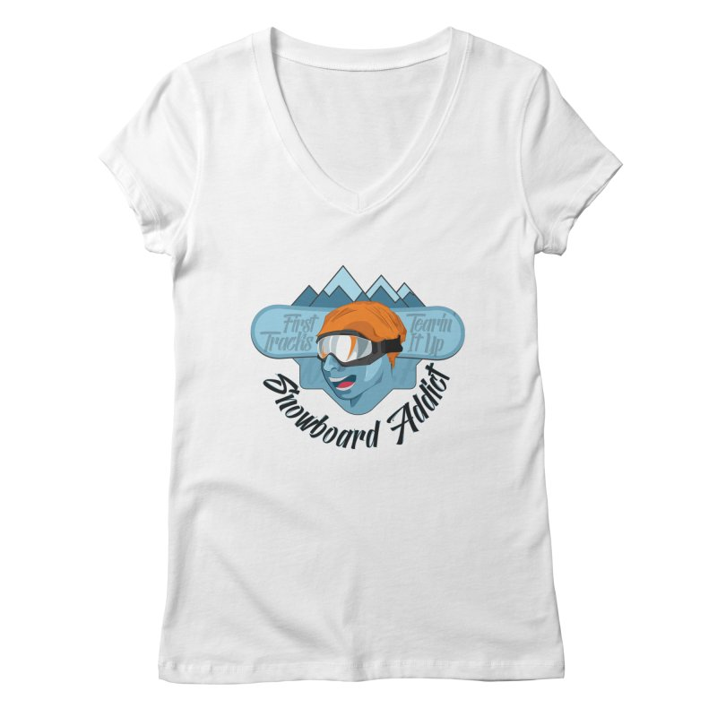 Snowboard Addict Women's V-Neck by Florin Chitic