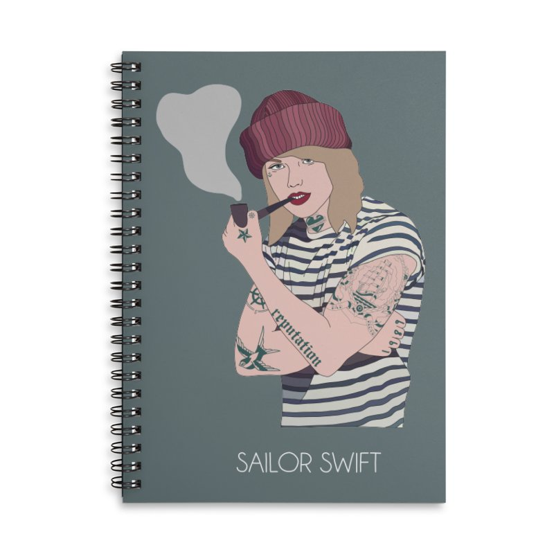 Sailor Swift Accessories Lined Spiral Notebook by Chloe Langer