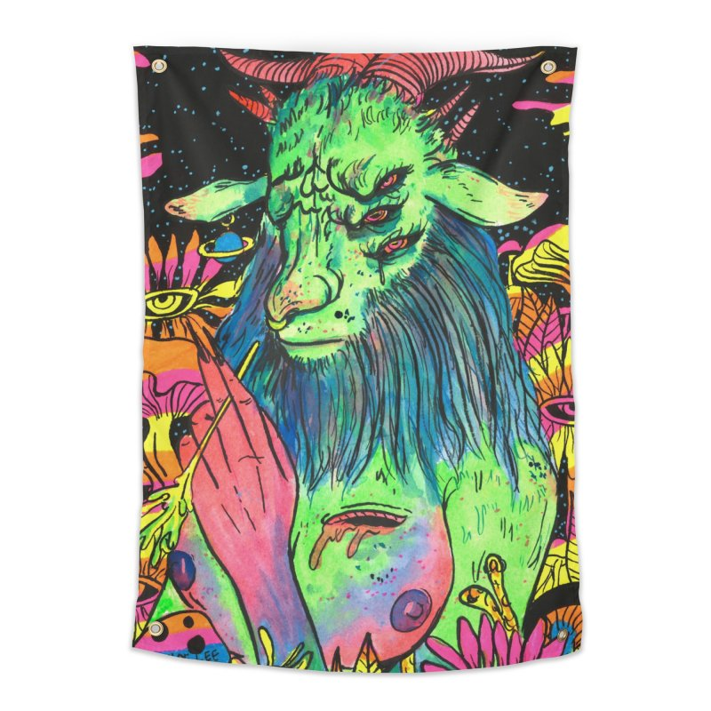Green Demon Home Tapestry by Chloe Lee