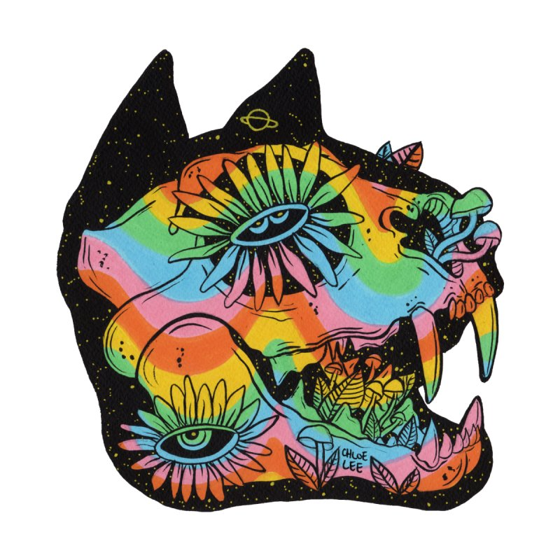 Cat Skull Men's Triblend T-shirt by Chloe Lee