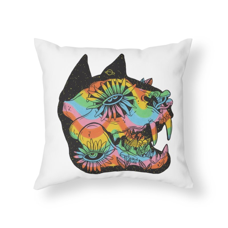Cat Skull Home Throw Pillow by Chloe Lee