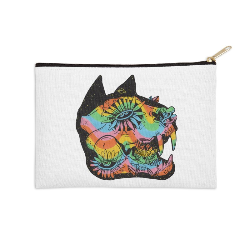 Cat Skull Accessories Zip Pouch by Chloe Lee