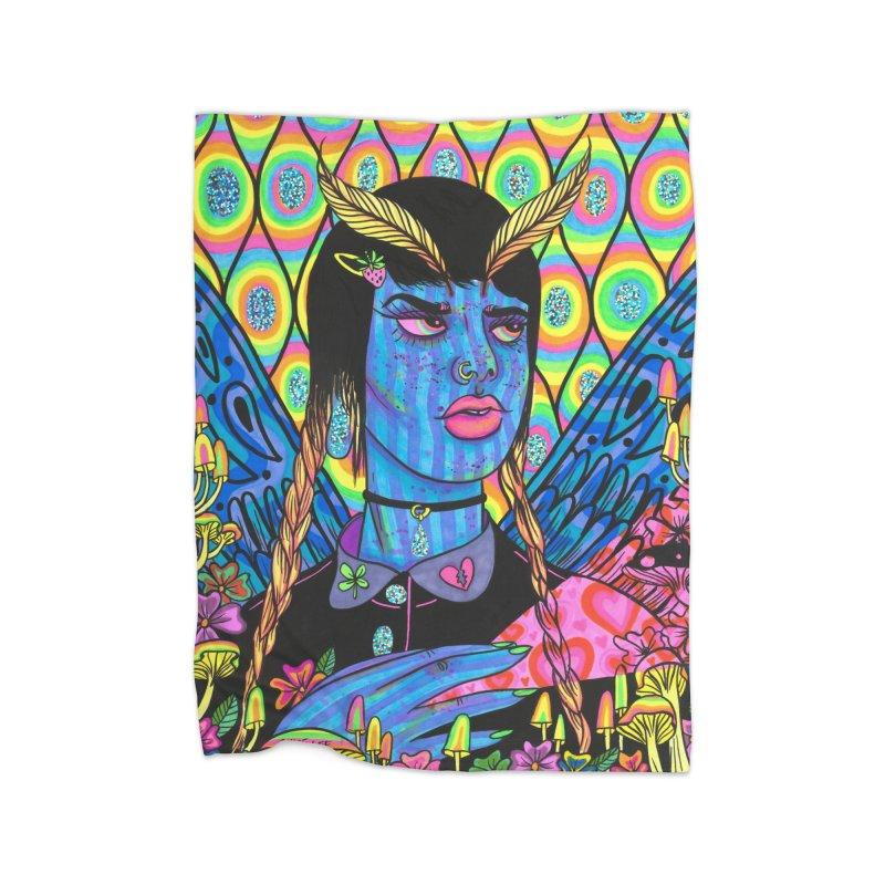 Blue Moth Home Blanket by Chloe Lee