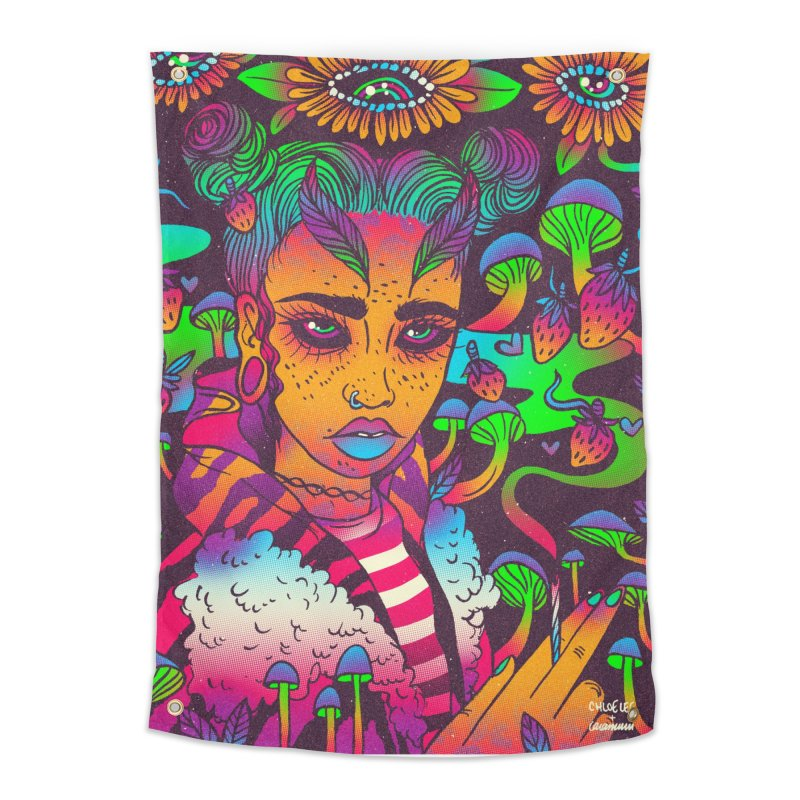 Smokey Strawberry COLLAB Home Tapestry by Chloe Lee