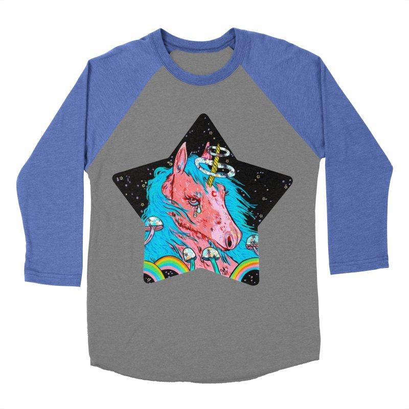 Moody Unicorn Men's Baseball Triblend T-Shirt by Chloe Lee