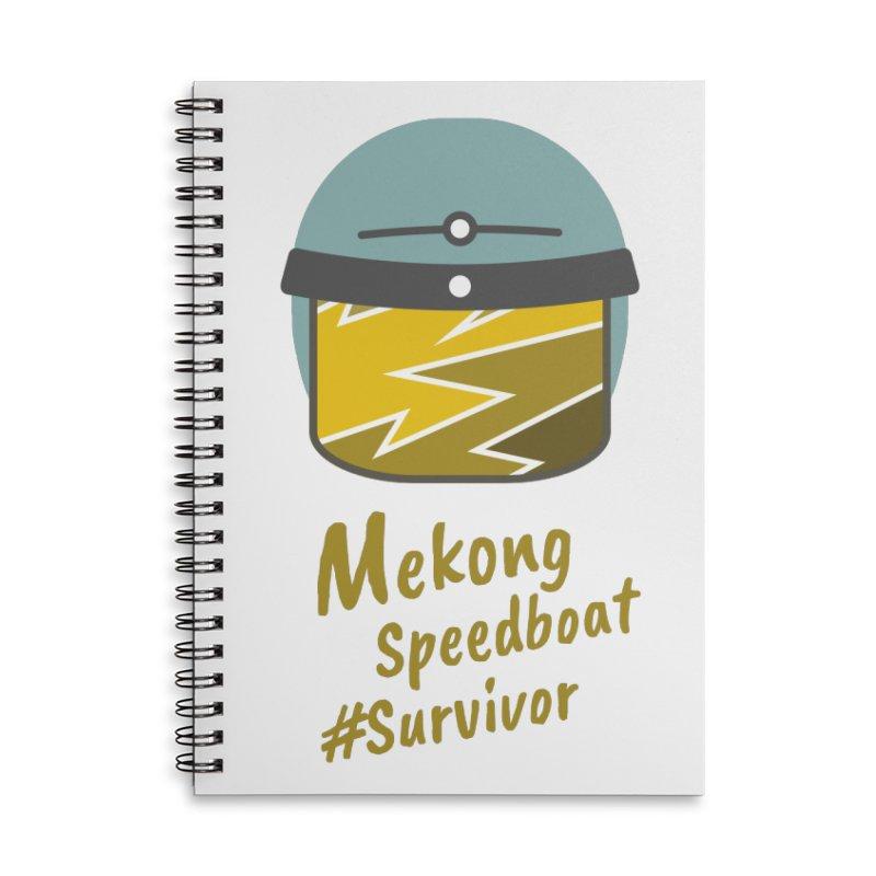Mekong Speedboat Survivor Accessories Lined Spiral Notebook by BeyondMekong | Inspired by SEA Wanderlust