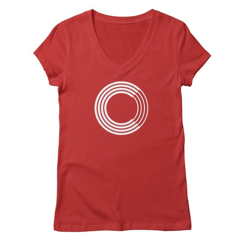 Chorus.fm White Logo (Centered) Women's Regular V-Neck by Chorus.fm Shop