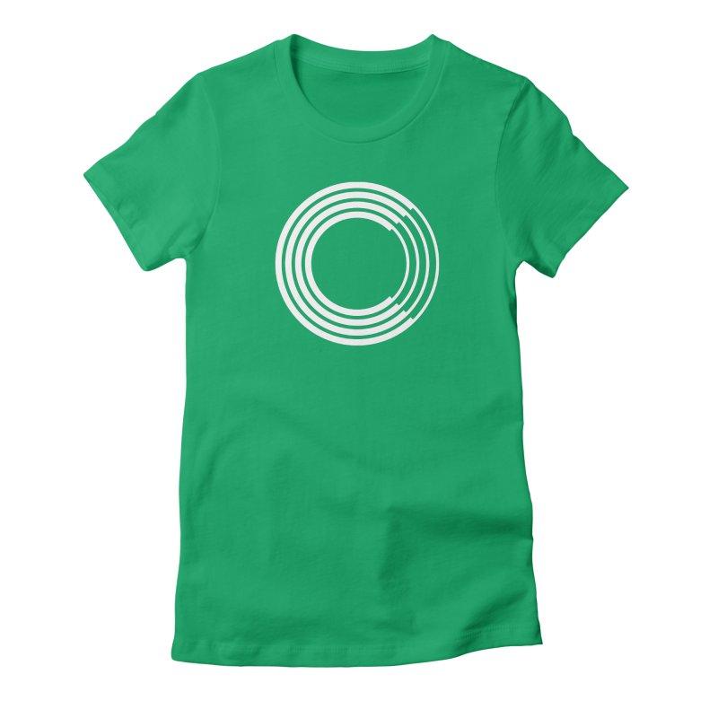 Chorus.fm White Logo (Centered) Women's Fitted T-Shirt by Chorus.fm Shop