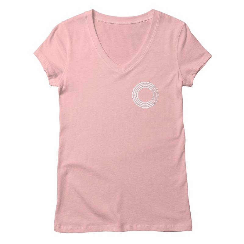 Chorus.fm White Logo (Breast) Women's Regular V-Neck by Chorus.fm Shop