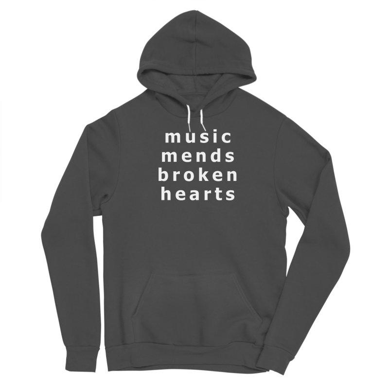 Music Mends Broken Hearts - AbsolutePunk.net Motto Men's Sponge Fleece Pullover Hoody by Chorus.fm Shop