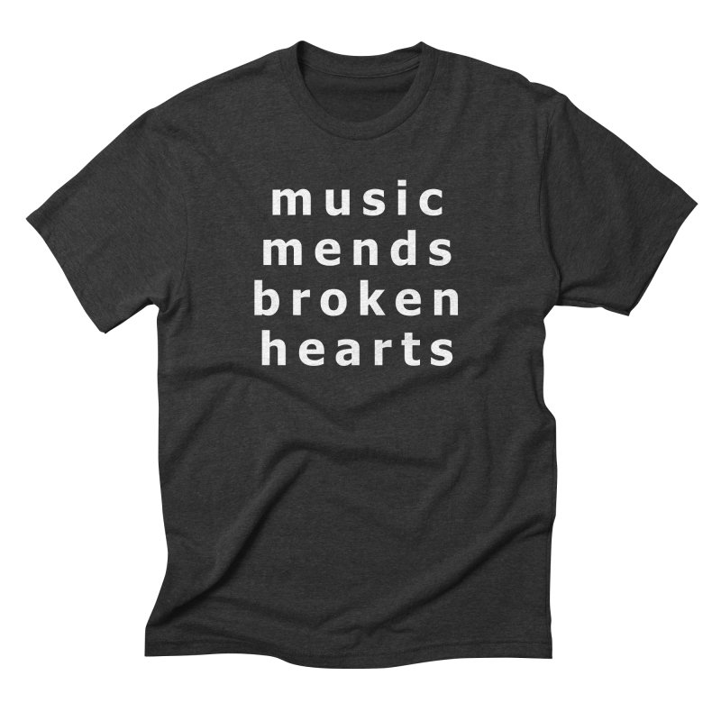 Music Mends Broken Hearts - AbsolutePunk.net Motto in Men's Triblend T-Shirt Heather Onyx by Chorus.fm Shop