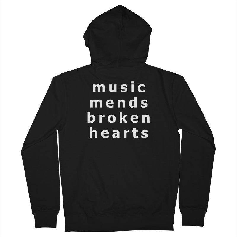 Music Mends Broken Hearts - AbsolutePunk.net Motto Women's French Terry Zip-Up Hoody by Chorus.fm Shop