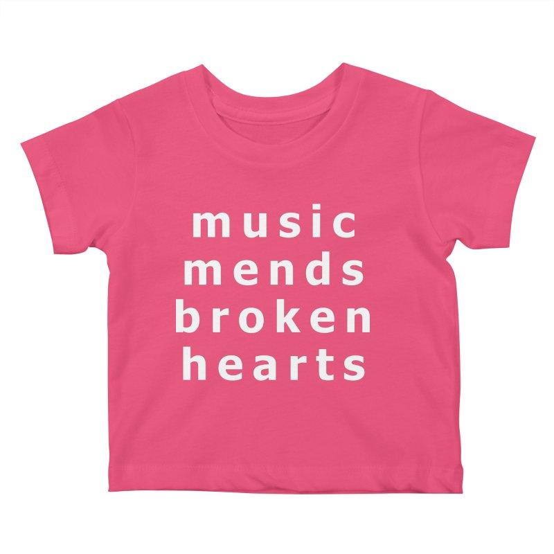 Music Mends Broken Hearts - AbsolutePunk.net Motto Kids Baby T-Shirt by Chorus.fm Shop