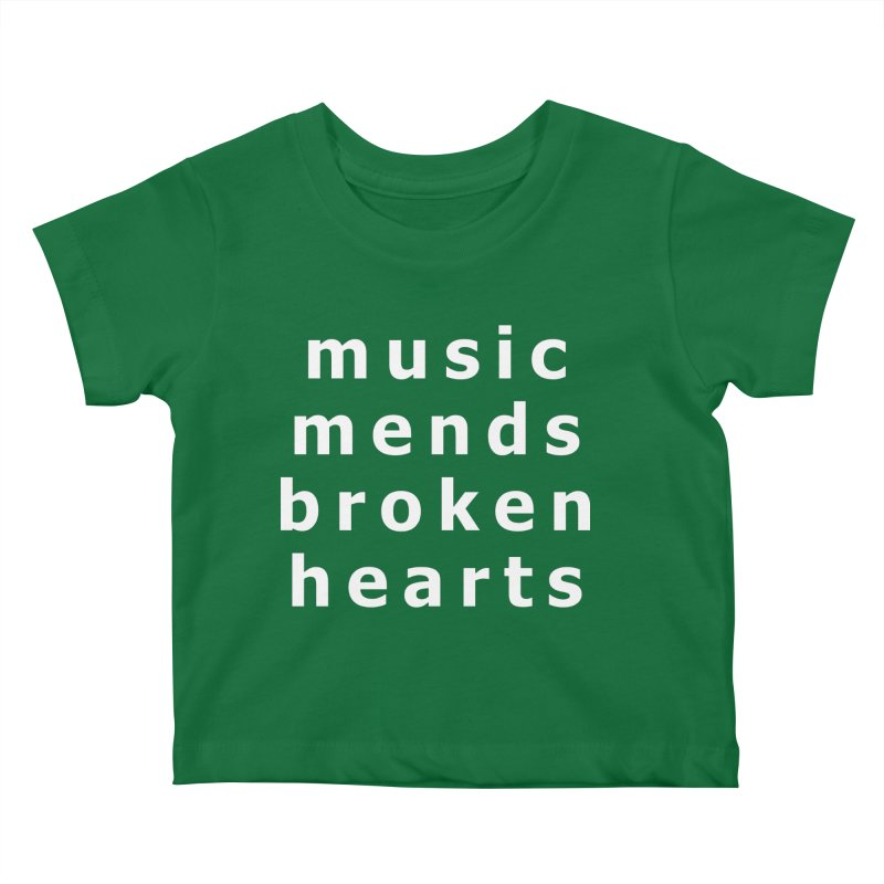 Music Mends Broken Hearts - AbsolutePunk.net Motto Kids Baby T-Shirt by Chorus.fm Shop