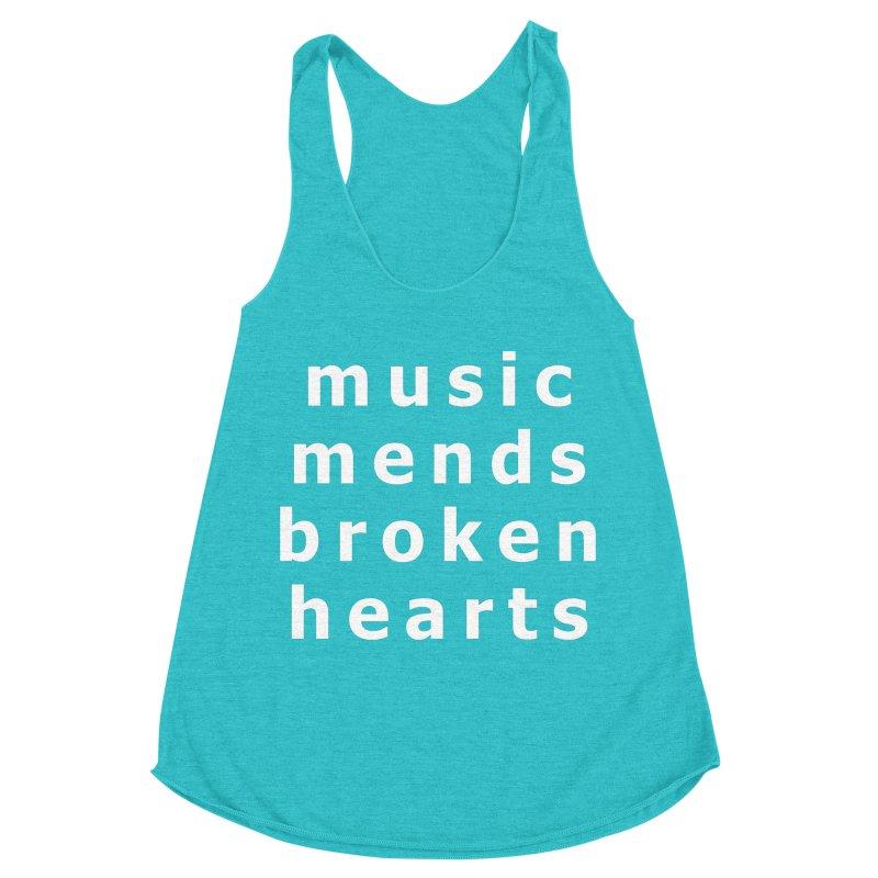 Music Mends Broken Hearts - AbsolutePunk.net Motto Women's Racerback Triblend Tank by Chorus.fm Shop