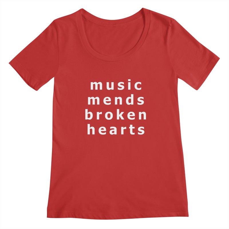 Music Mends Broken Hearts - AbsolutePunk.net Motto Women's Regular Scoop Neck by Chorus.fm Shop