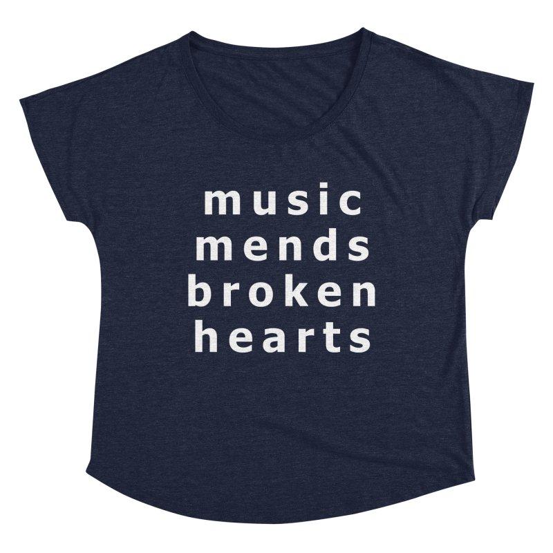 Music Mends Broken Hearts - AbsolutePunk.net Motto Women's Dolman Scoop Neck by Chorus.fm Shop