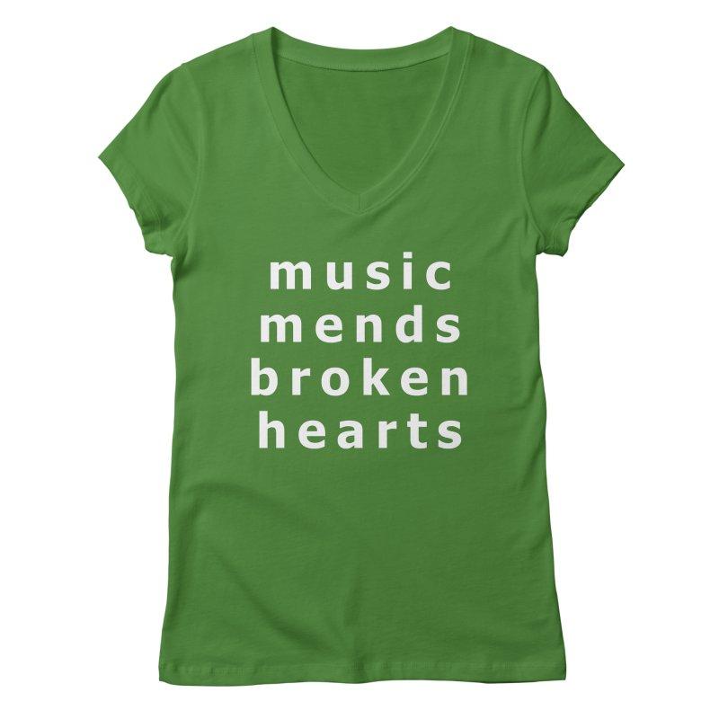Music Mends Broken Hearts - AbsolutePunk.net Motto Women's Regular V-Neck by Chorus.fm Shop