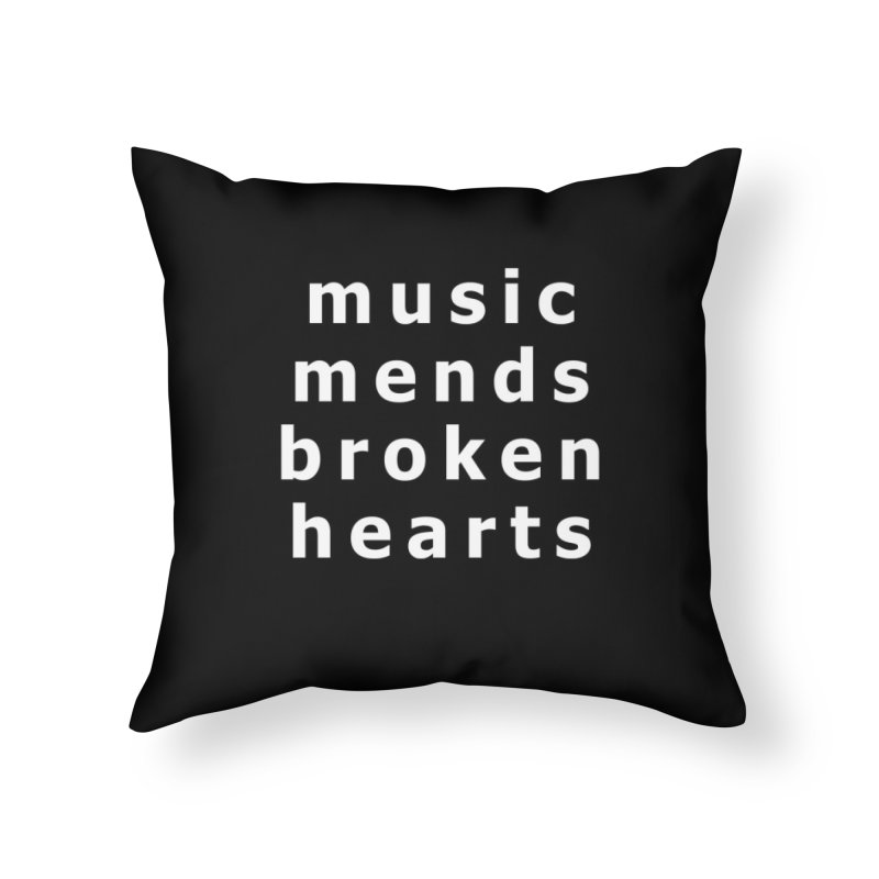 Music Mends Broken Hearts - AbsolutePunk.net Motto Home Throw Pillow by Chorus.fm Shop