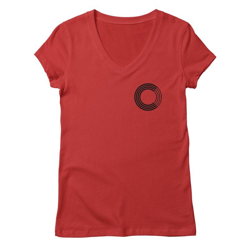 Chorus.fm Black Logo (Breast) Women's Regular V-Neck by Chorus.fm Shop