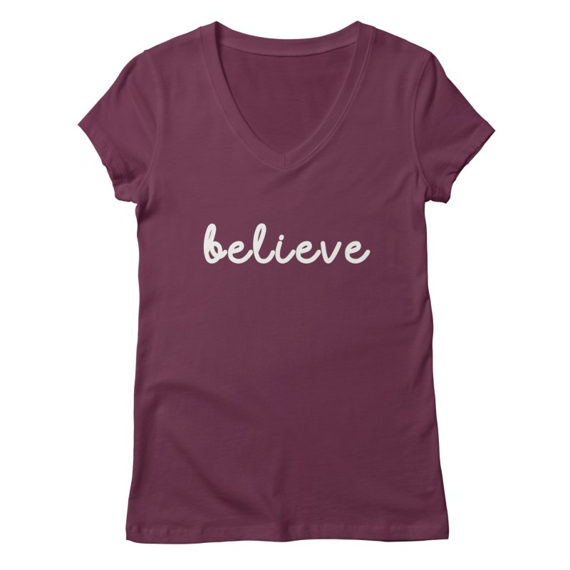 BELIEVE Women's Regular V-Neck by Church at Hampton Roads Apparel