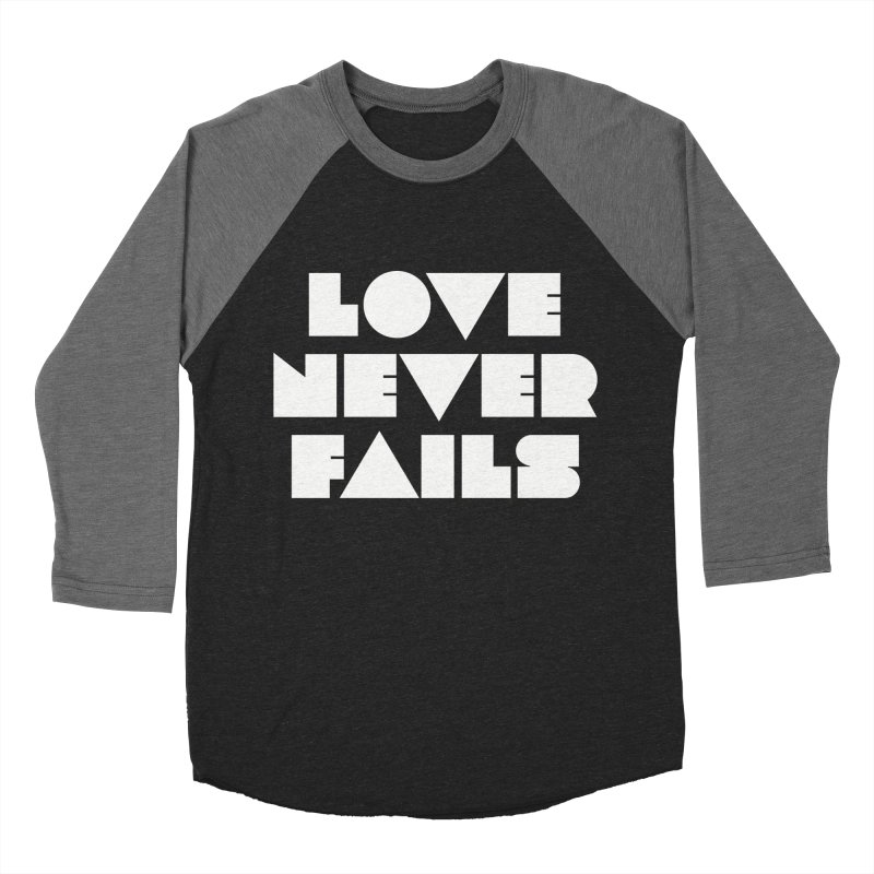 LOVE NEVER FAILS Men's Baseball Triblend Longsleeve T-Shirt by Church at Hampton Roads Apparel