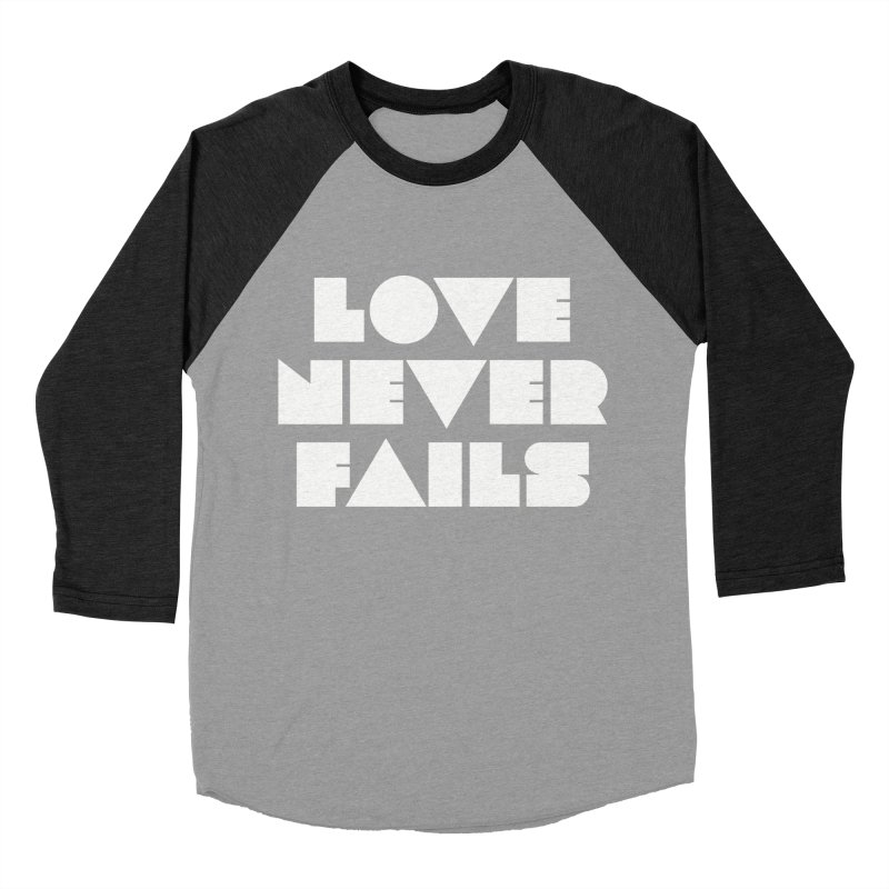 LOVE NEVER FAILS Men's Baseball Triblend T-Shirt by Church at Hampton Roads Apparel