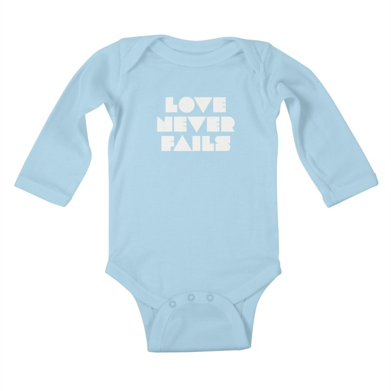 LOVE NEVER FAILS Kids Baby Longsleeve Bodysuit by Church at Hampton Roads Apparel