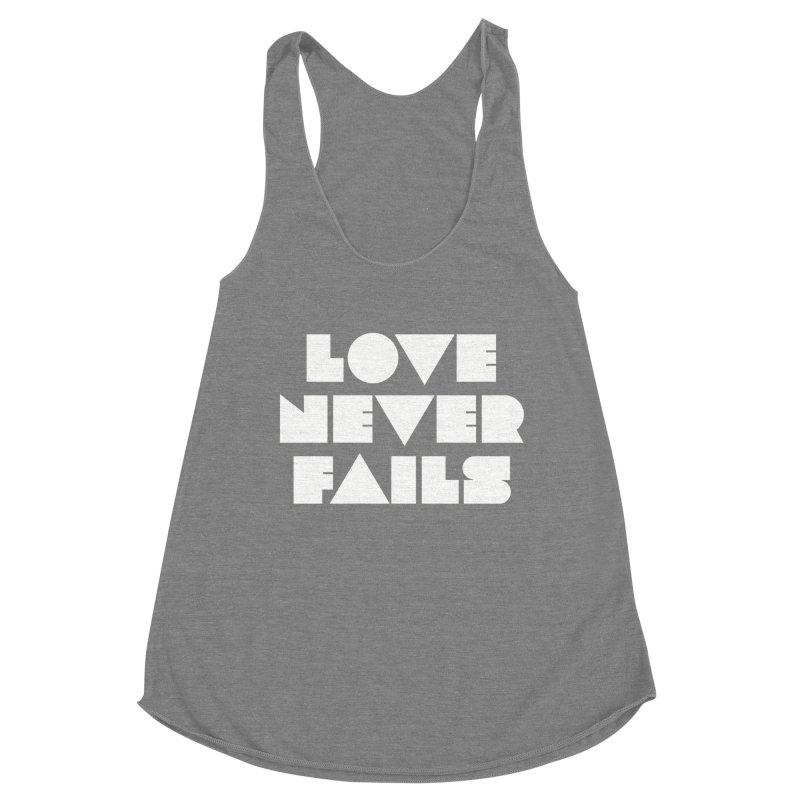 LOVE NEVER FAILS Women's Racerback Triblend Tank by Church at Hampton Roads Apparel