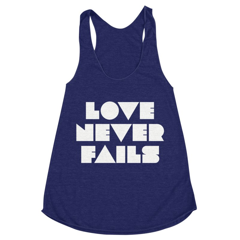 LOVE NEVER FAILS Women's Racerback Triblend Tank by Church at Hampton Roads Apparel