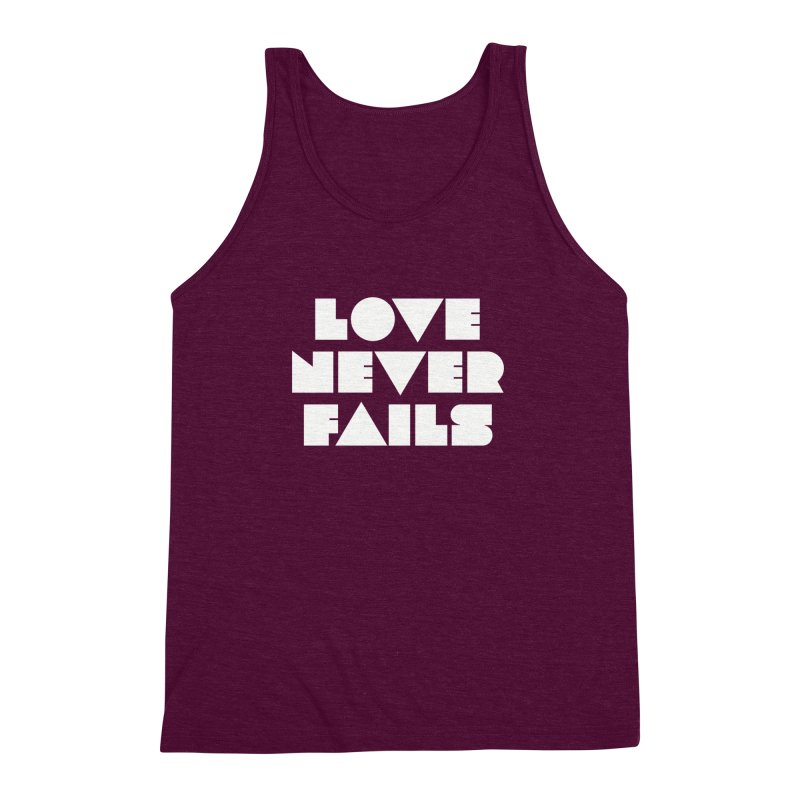 LOVE NEVER FAILS Men's Triblend Tank by Church at Hampton Roads Apparel