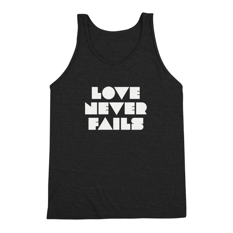 LOVE NEVER FAILS Men's Triblend Tank by Church at Hampton Roads Apparel