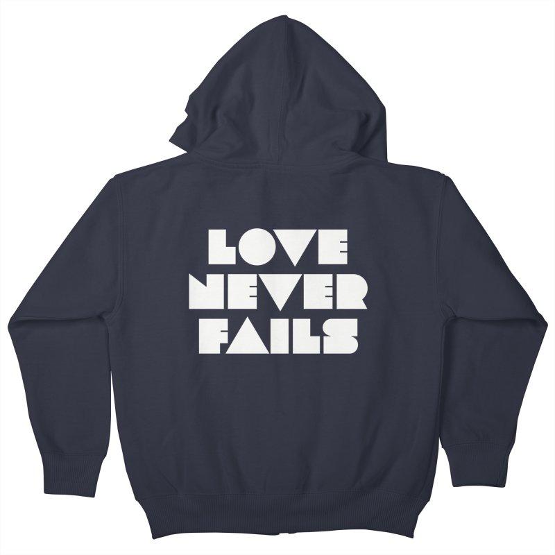 LOVE NEVER FAILS Kids Zip-Up Hoody by Church at Hampton Roads Apparel