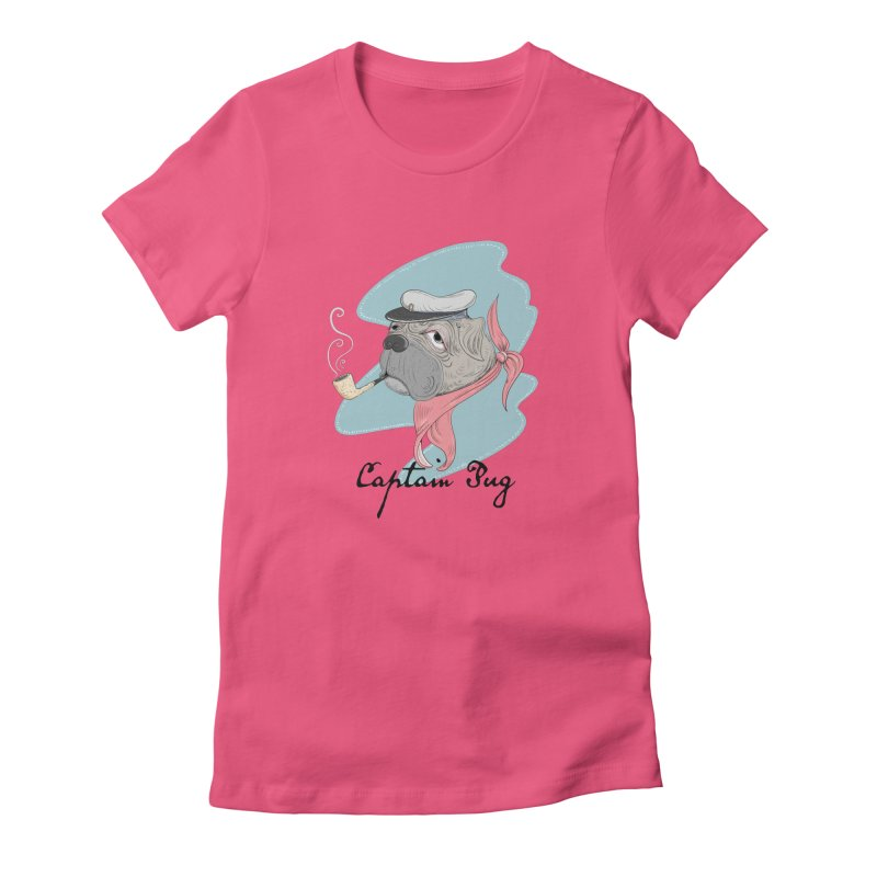 Captain Pug in Women's Fitted T-Shirt Fuchsia by Illustrated Madness