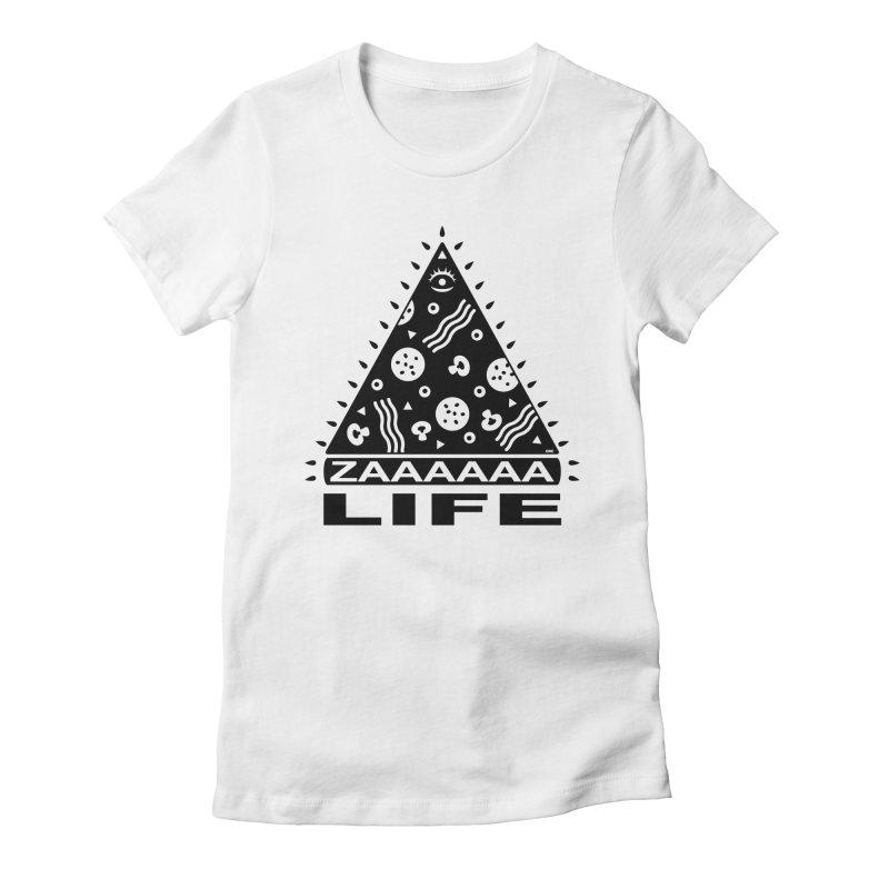 Zaaaaaa Life Black Women's Fitted T-Shirt by Chris Crammer