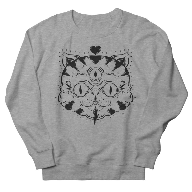 3 Eye Cat Love in Women's French Terry Sweatshirt Heather Graphite by Chris Crammer