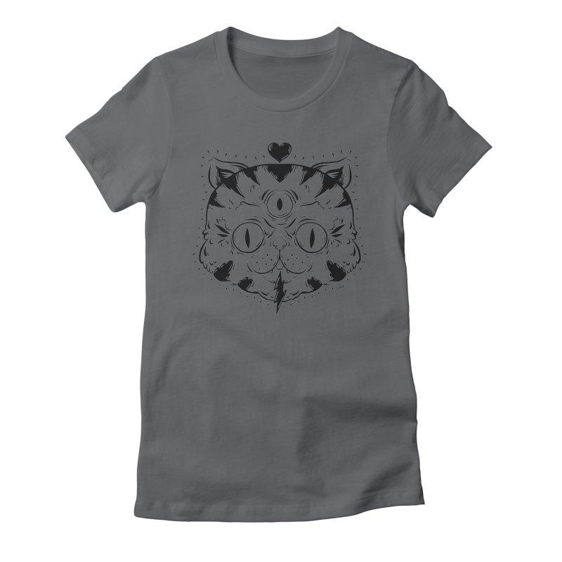 3 Eye Cat Love Women's Fitted T-Shirt by Chris Crammer