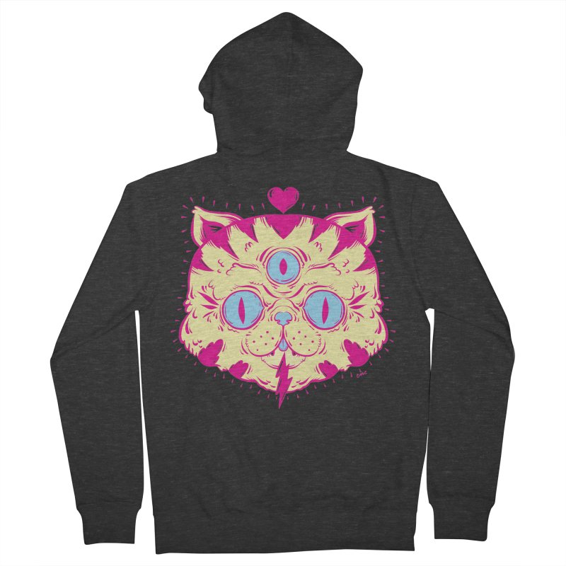 # Eye Cat Love in Women's French Terry Zip-Up Hoody Smoke by Chris Crammer