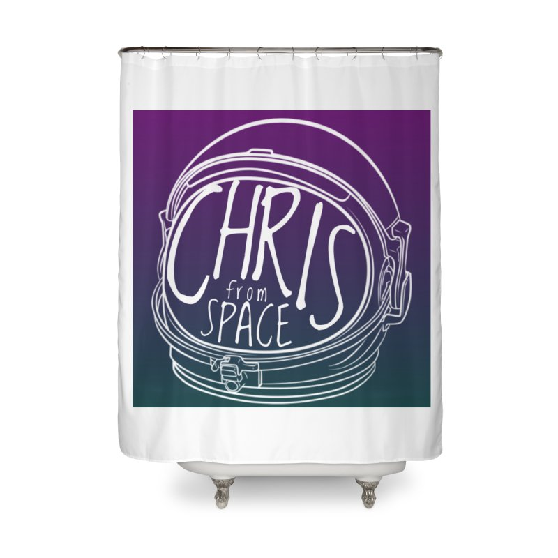 Helmet logo Home Shower Curtain by Chris From Space Shop