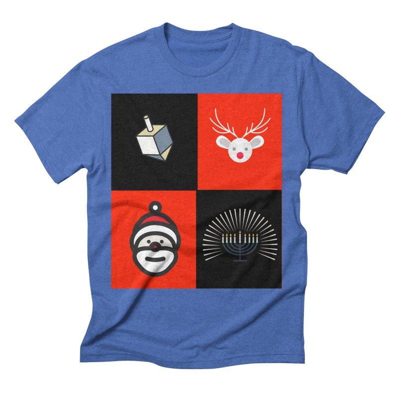 Happy Chrismukkah santa dreidel Men's T-Shirt by chrismukkah's Artist Shop