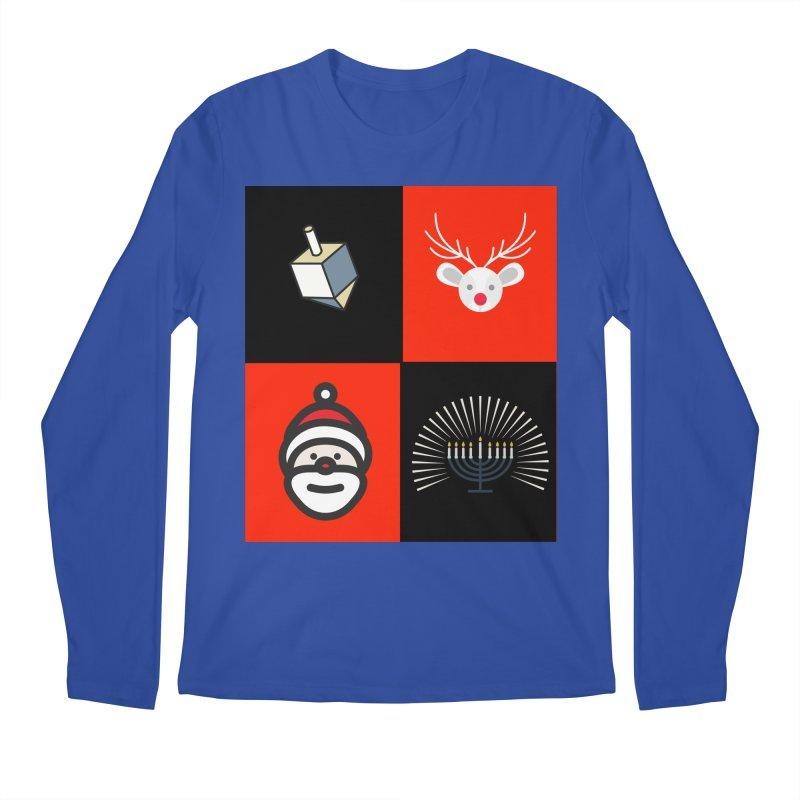 Happy Chrismukkah santa dreidel Men's Regular Longsleeve T-Shirt by chrismukkah's Artist Shop