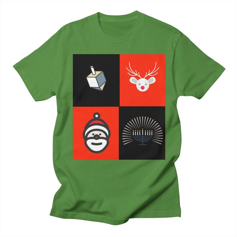 Happy Chrismukkah santa dreidel Men's Regular T-Shirt by chrismukkah's Artist Shop