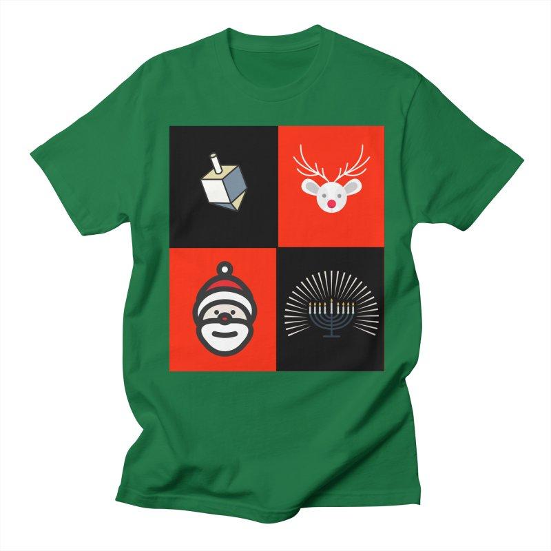 Happy Chrismukkah santa dreidel Women's Regular Unisex T-Shirt by chrismukkah's Artist Shop