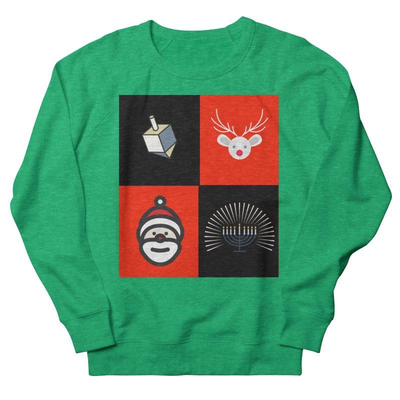 Happy Chrismukkah santa dreidel Women's French Terry Sweatshirt by chrismukkah's Artist Shop