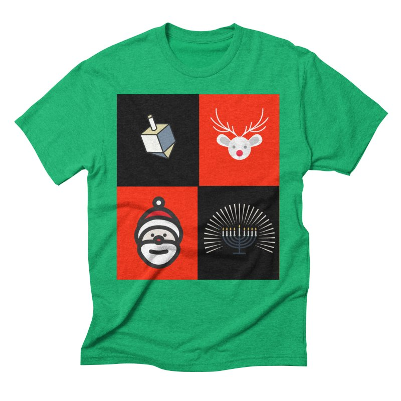 Happy Chrismukkah santa dreidel Men's Triblend T-Shirt by chrismukkah's Artist Shop