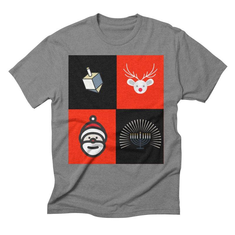 Happy Chrismukkah santa dreidel Men's Triblend T-Shirt by chrismukkah's Artist Shop
