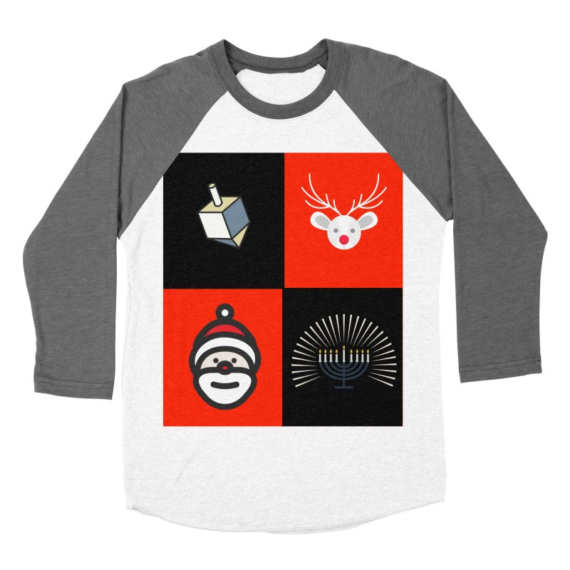 Happy Chrismukkah santa dreidel Men's Baseball Triblend Longsleeve T-Shirt by chrismukkah's Artist Shop