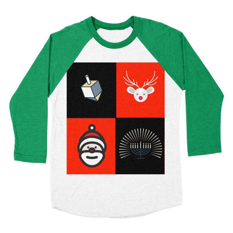 Happy Chrismukkah santa dreidel Men's Baseball Triblend T-Shirt by chrismukkah's Artist Shop