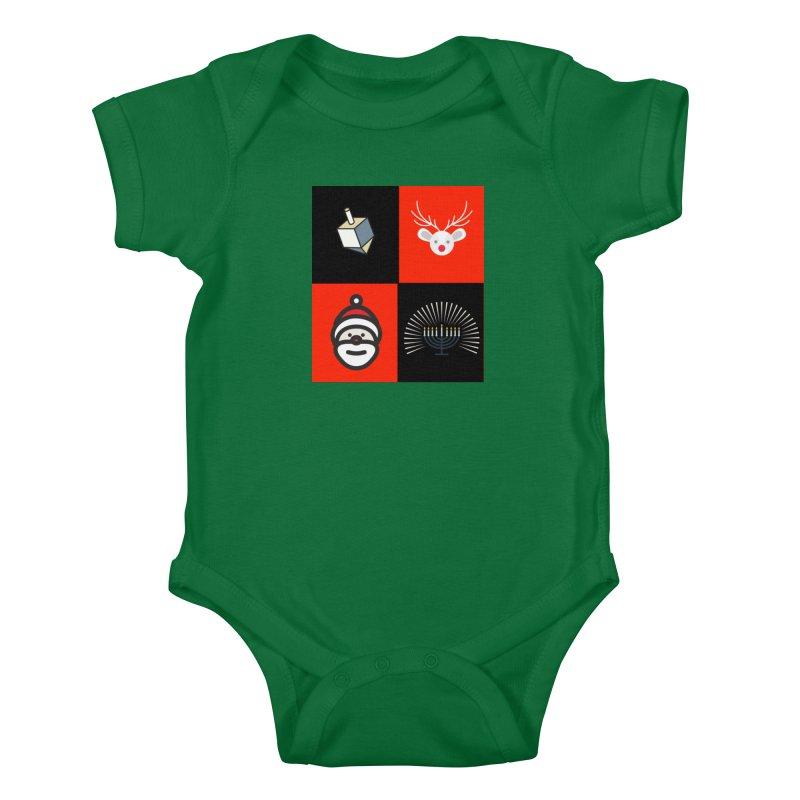 Happy Chrismukkah santa dreidel Kids Baby Bodysuit by chrismukkah's Artist Shop
