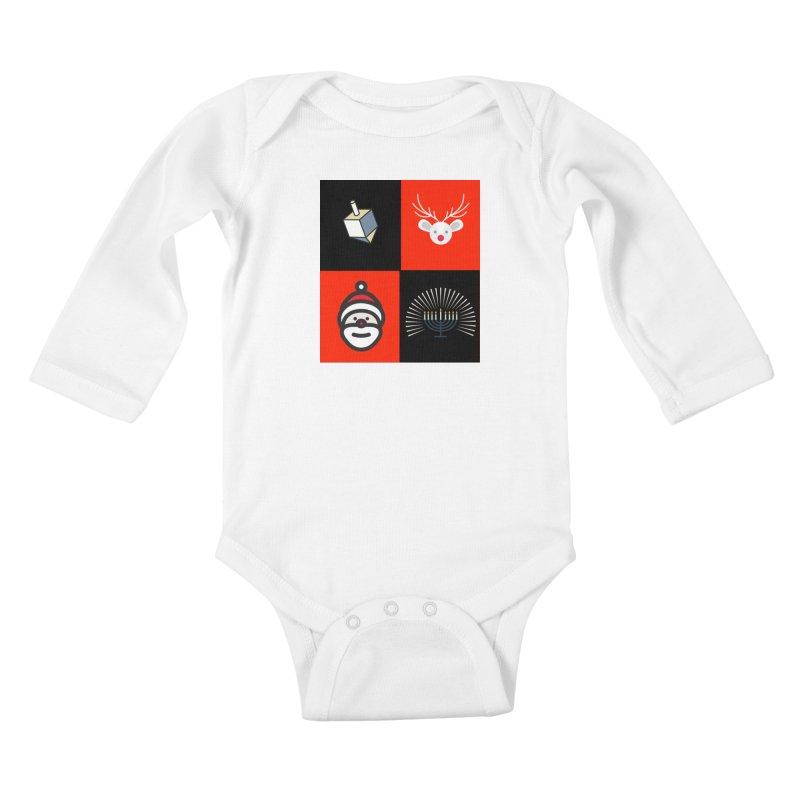 Happy Chrismukkah santa dreidel Kids Baby Longsleeve Bodysuit by chrismukkah's Artist Shop